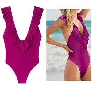VS PINK Orchid Ruffle Shine V-Neck Swim LOT OF TWO